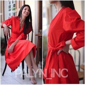 ZARA BELTED POPLIN DRESS RED COTTON MID
